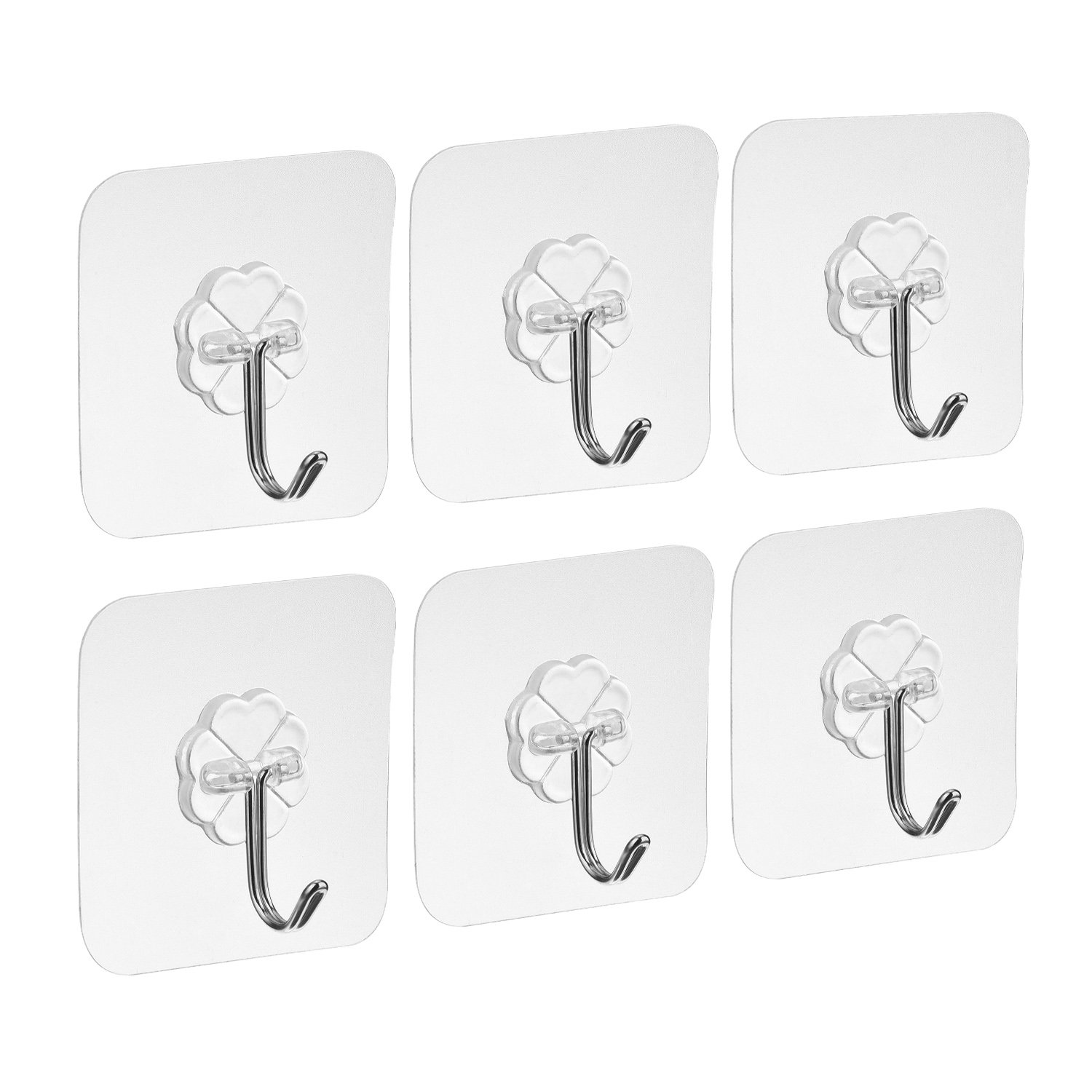 Willbond Adhesive Wall Hooks Nail Free Transparent Hooks for Kitchen Bathroom Door Ceiling Hanger (6 Pack)
