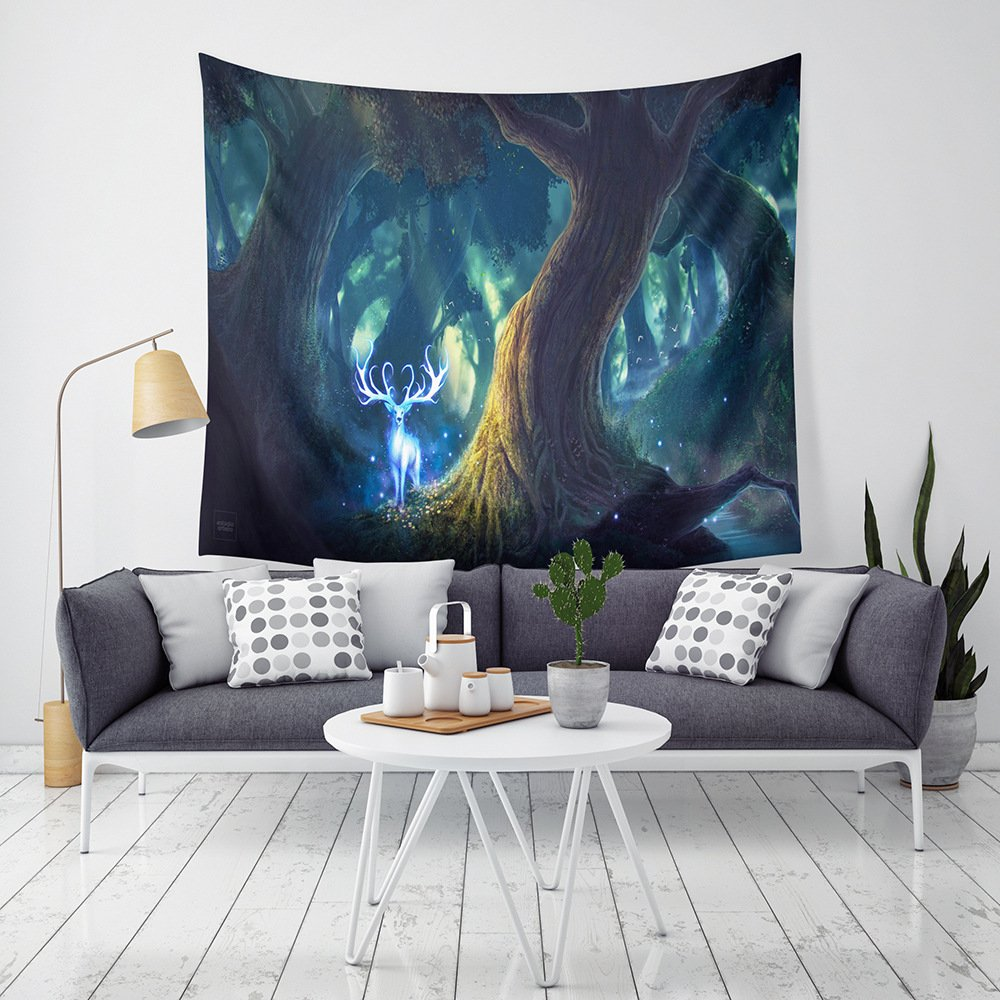 WSHINE Mystic Fairy Tree of Life Enchanted Forest Tapestry Psychedelic Magic Love Fantasy Landscape Wall Hanging Home Decortion Children's Room Decor Blanket, Psychedelic Starry Night Scenery