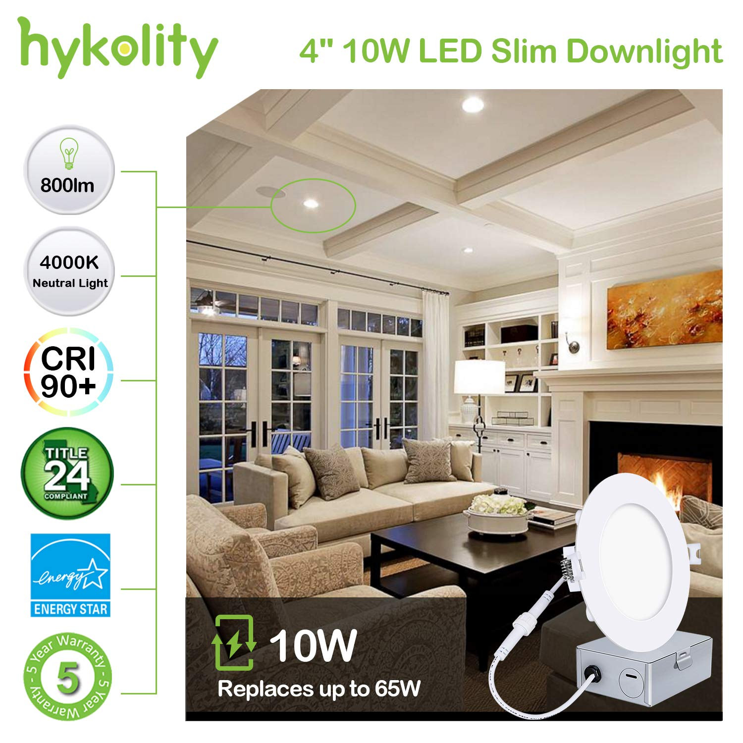 Hykolity 12 Pack 10W 4 Inch LED Slim Recessed Ceiling Light, 800lm, CRI90, 4000K Neutral White, Low Profile Downlight with Junction Box Dimmable, ETL& Energy Star Listed,Title 24 Compliant by hykolity (Image #3)