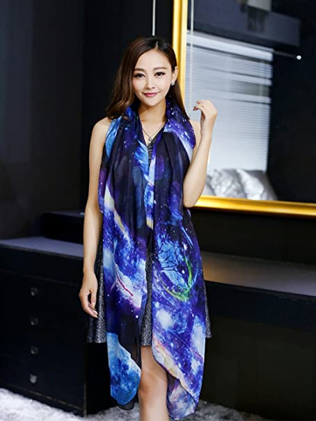 5785d1c0f7f0 JOYJULY Starry Sky Galaxy Star Space Printing Chiffon Long Wrap Scarves  with Gift Box at Amazon Women s Clothing store