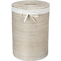 """KOUBOO 1030040 Round Rattan White Wash Hamper with Liner, 17"""" x 17"""" x 24"""""""