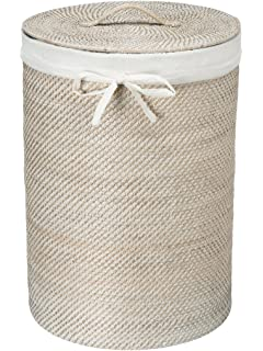 woven basket with lid. KOUBOO 1030040 Round Rattan White Wash Hamper With Liner, 17\ Woven Basket Lid