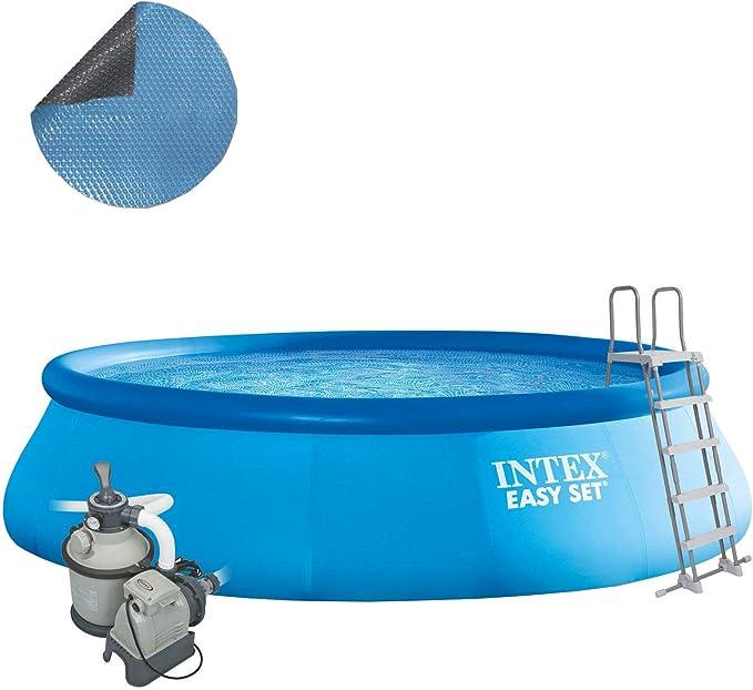 Intex 488 x 107 Juego completo con Intex filtro de arena 4 m³, Intex Seguridad Escalera, Intex anschlus Set, Solar pantalla swimming pool Piscina Easy Quick Up: Amazon.es: Jardín