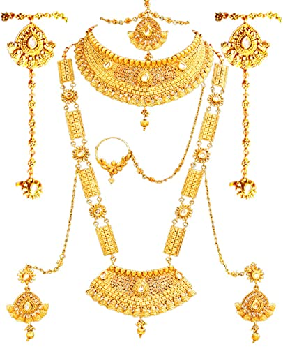 05d22227987a SATHIYA JEWELLERS Golden Gold Plated Complete Bridal Jewellery Necklace Set  for Women -8 Pieces