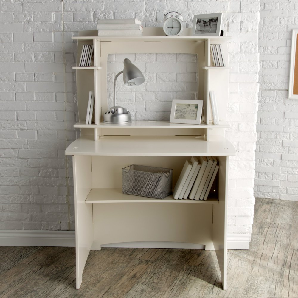 White Modern 36 in. Writing Desk with Hutch   Perfect Space Saving Contemporary Home Office or College Student Dorm Storage Table for Your Computer, PC, Laptop, Monitor, Books and Supplies