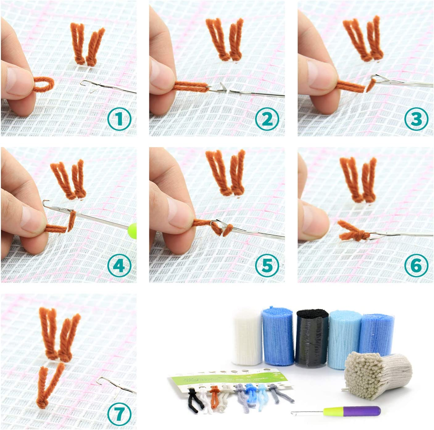 MLADEN Latch Hook Kits DIY Tools Crocheting Rug Embroidery Shaggy Decoration Family Gift and Activity 20 X 16.5 Brown