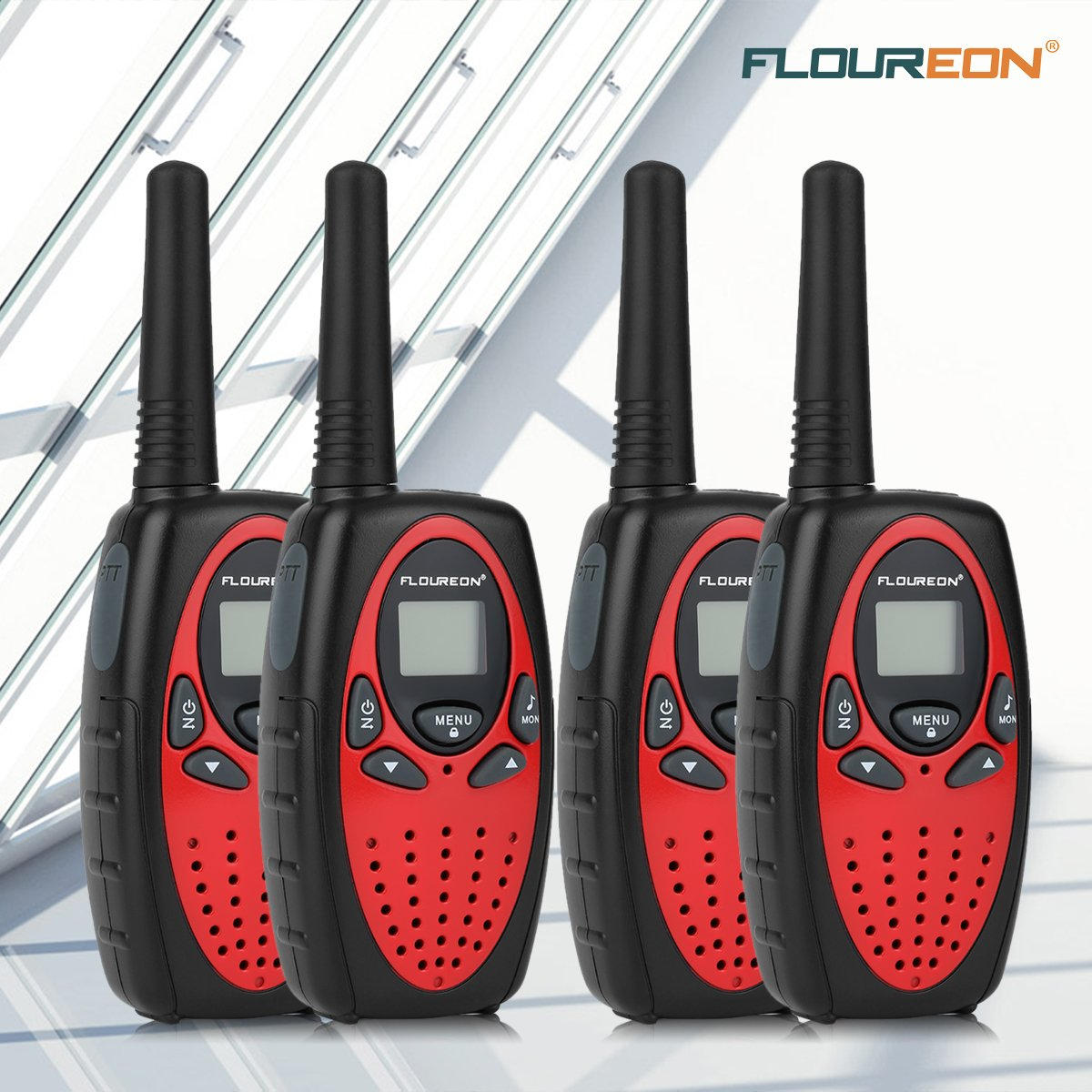 Floureon 4 Packs 22-Channel FRS/GMRS Two Way Radios Up to 3000M/1.9MI Range (MAX 5000M/3.1MI) Handheld Walkie Talkies for Outdoor Adventure (Red) by floureon (Image #8)