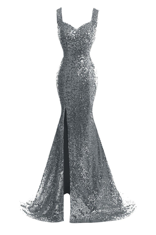 JudyBridal Women Straps Mermaid Sequins Prom Dresses With Split Side US2 Steel Grey