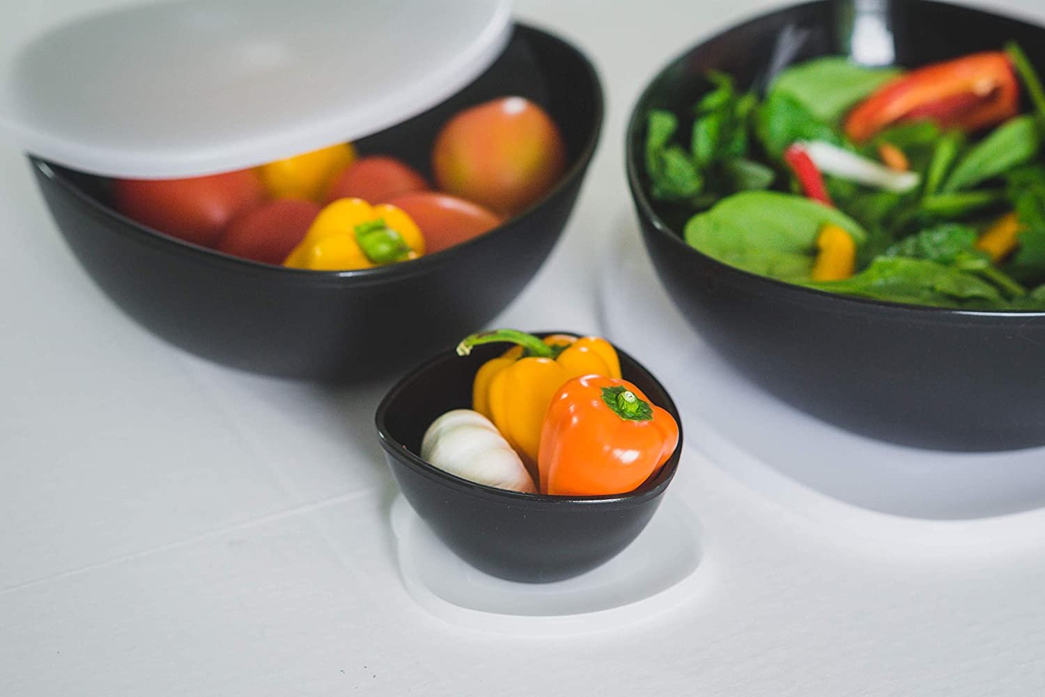 Serving Salad or Dessert with Lid- Set of 6 Coza Stackable and Unbreakable Serving Bowl for Mixing Black 3 Bowls + 3 Lids