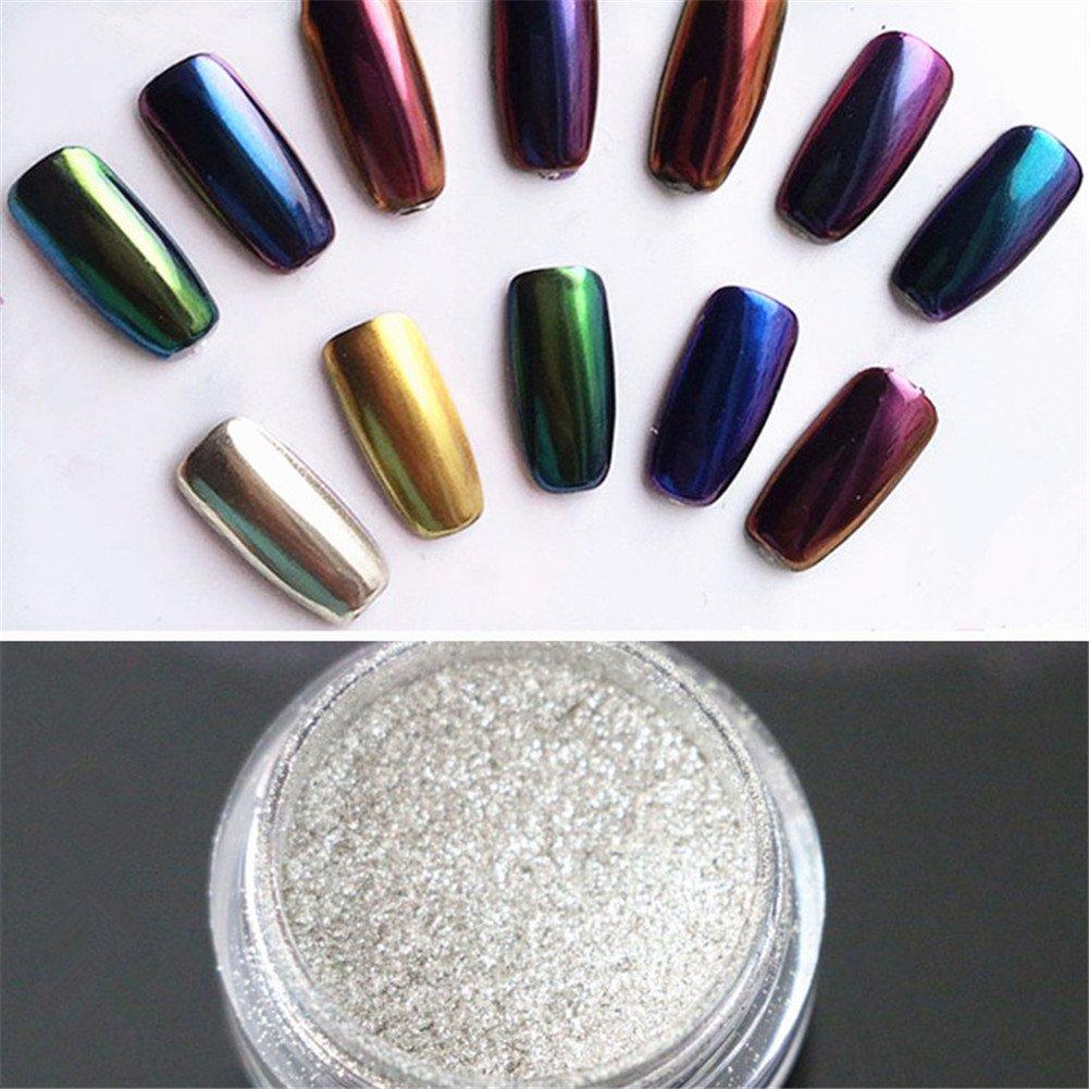 Born Pretty 2 Box Mirror Powder Gold Silver Pigment Nail Glitter Nail Art Chrome Powder with...