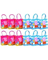 """Peppa Pig Party Favor Goodie Gift Bag - 6"""" Small Size (12 Packs)"""