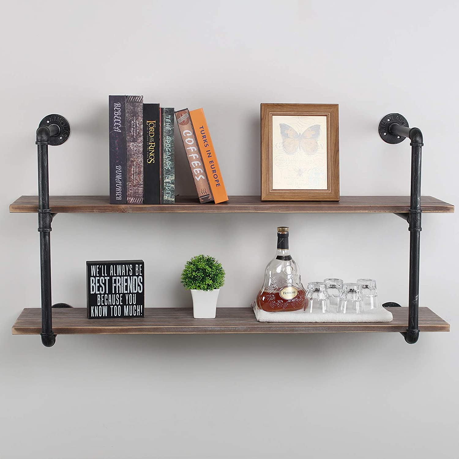 Industrial Floating Shelves Wall Mount,48in Rustic Pipe Wall Shelf,2-Tiers Wall Mount Bookshelf,DIY Storage Shelving Floating Shelves,Wall Shelving Unit,Wall Book Shelf for Home,Black Brushed Silver