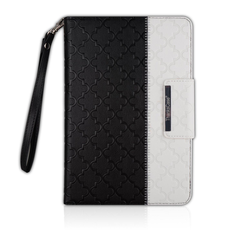 【破格値下げ】 Thankscase iPad回転ケースカバー 財布 4 ハンドストラップ付き 財布 スマートカバー機能 スリムで軽量 ポケットケース iPadとiPad Mini用 mini for iPad mini 4 LA8021IM4-BQU for iPad mini 4 Black Quatrefoil B071RCT87B, シナノマチ:bf39edd4 --- a0267596.xsph.ru