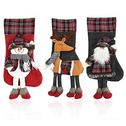 littlegrass 2018 3d christmas stockings set of 3 decorations 197 classic xmas stocking big - Big Christmas Stockings