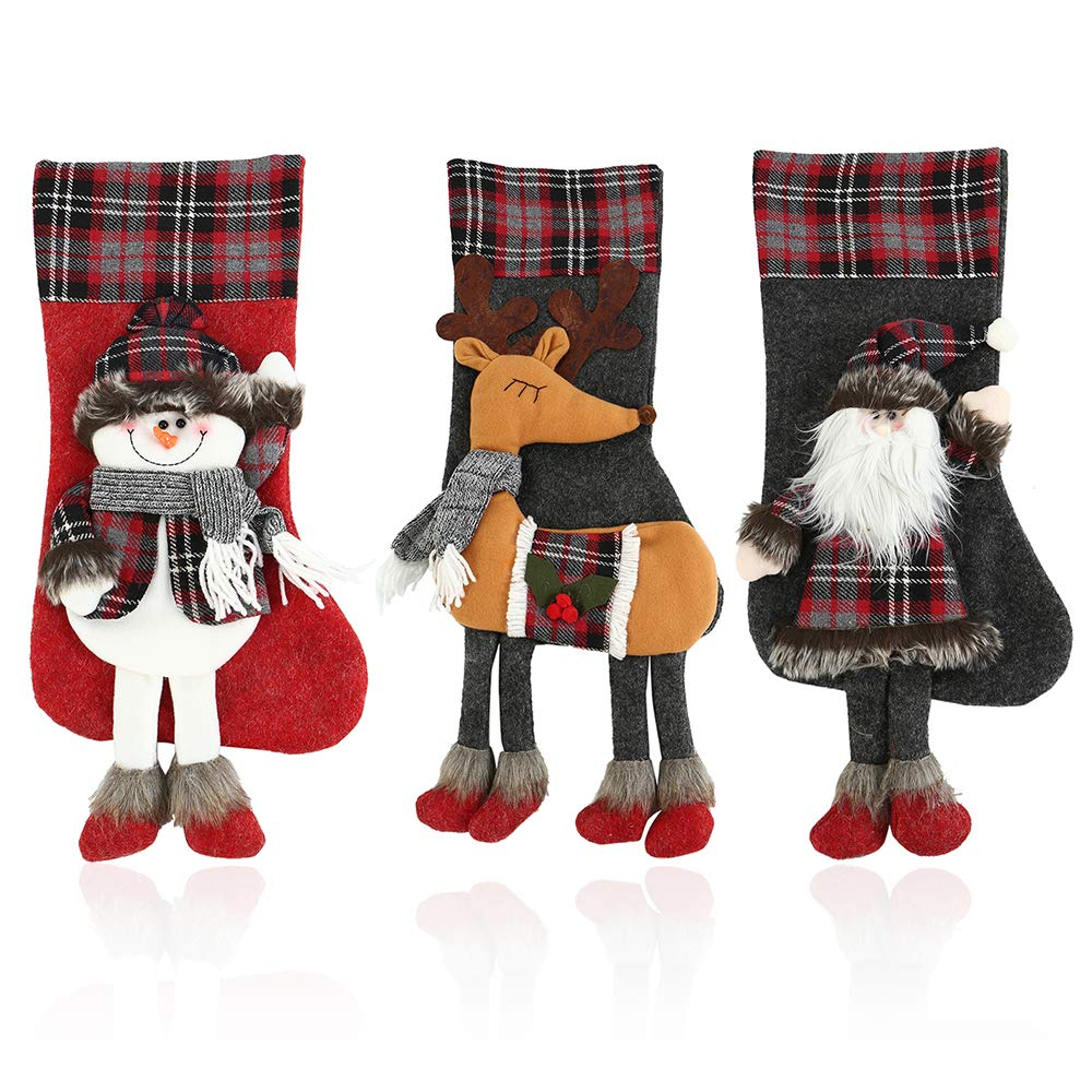 LITTLEGRASS 2018 3D Christmas Stockings Set of 3 Decorations, 19.7'' Classic Xmas Stocking Big Size Santa Snowman Reindeer Holiday Party Decor (1 Set)
