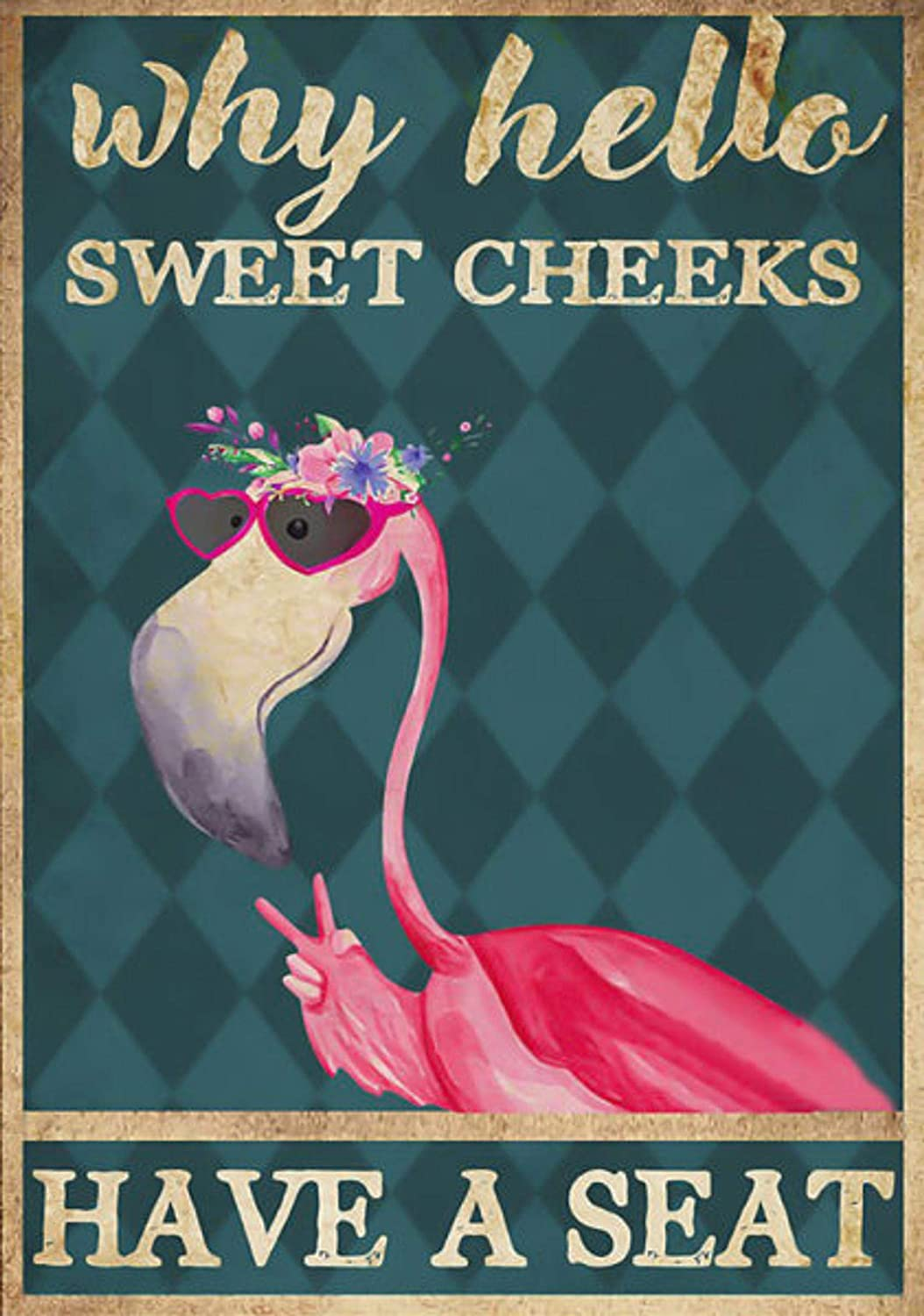 Pozino Metal Sign Custom Why Hello Sweet Cheeks Have A Seat Pink Flamingo Wall Decorations Tin Sign Vintage 16x12 inch