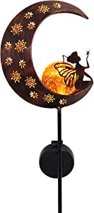 TERESA'S COLLECTIONS 39 inch Metal Moon Fairy Garden Solar Lights with Angel Decor, Decorative Moon Solar Lights with Crackle Glass Ball for Outdoor Patio Yard Decorations