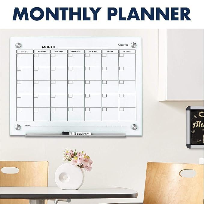 Amazon.com: Calendario magnético de vidrio Quartet ...