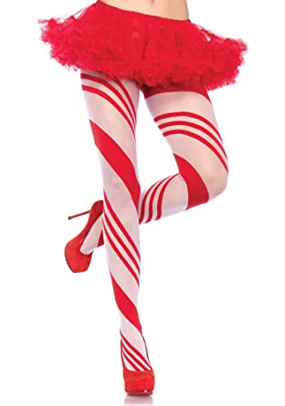 73a521fc1eea7 Ladies Sexy Red White Stripe Candy Cane Tights Spandex Mrs Santa Elf Fancy  Dress Xmas Hosiery Christmas 8 10 12 14 (One Size fits most): Amazon.co.uk:  ...