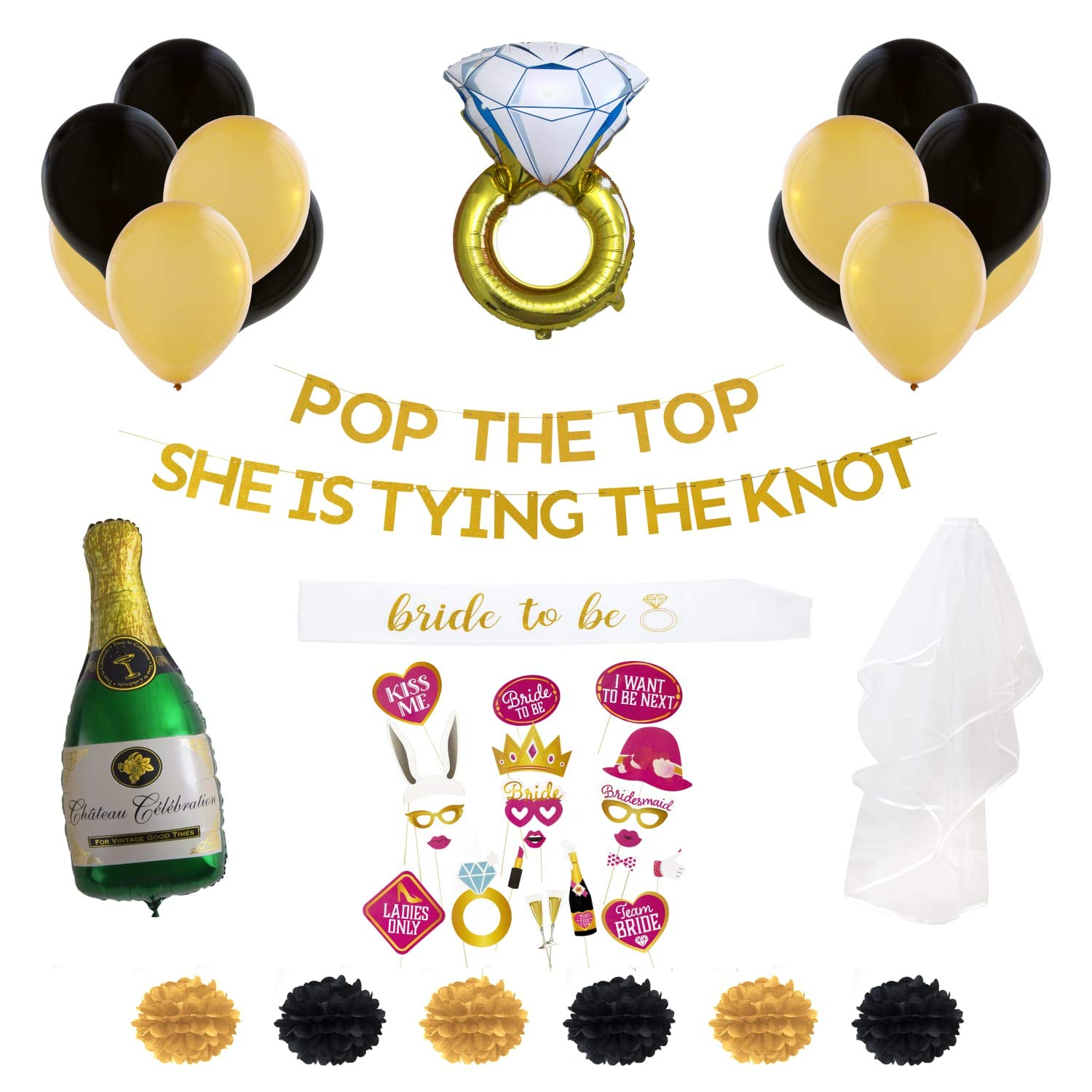 Bachelorette Party Decorations Bridal Shower Decorations Champagne Balloon Bride Banner Bride to be sash Bridal Shower Photo Props Bridal Balloons Bridal Party sash Bridal Veil by Zany Owl