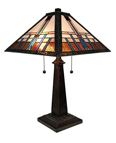 Amora Lighting Tiffany Style Table Lamp Banker Mission 21 Tall Stained Glass Blue White Brown Vintage Antique Light D cor Living Room Bedroom Office Handmade Gift AM239TL14B, Multicolor