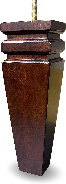 "8"" Walnut Finish Square Tapered Sofa Furniture Legs - Set of 4"