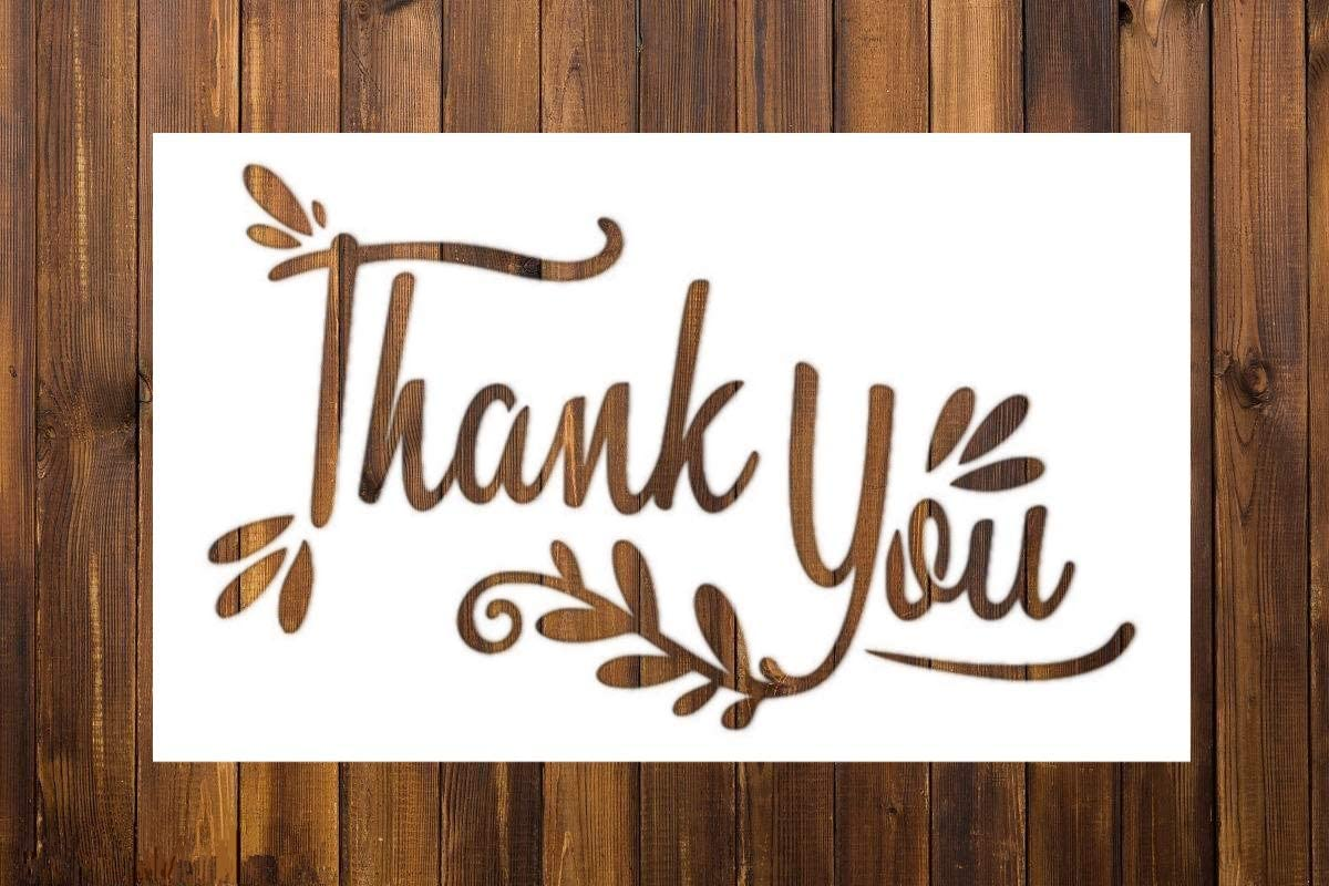 """OBUY Thank You Reusable Stencil Airbrush Painting Art DIY Home Decor Scrap Booking Album Crafts (3.9""""×5.9"""")"""