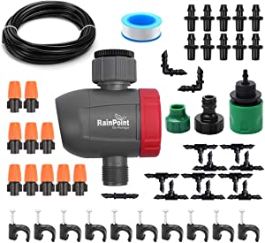 """DricRoda Automatic Misting Set, Irrigation System with Timer, Garden Sprinkler Drip Kit, 50ft 1/4"""" Blank Distribution Tubing Hose for Greenhouse, Eaves, Yard, Patio Lawn, Plants"""