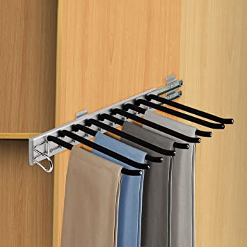 Beau Kaleep Pull Out Closet Valet Rod Adjustable Wardrobe Clothing Rail Pants  Clothes Hangers 9 Arms