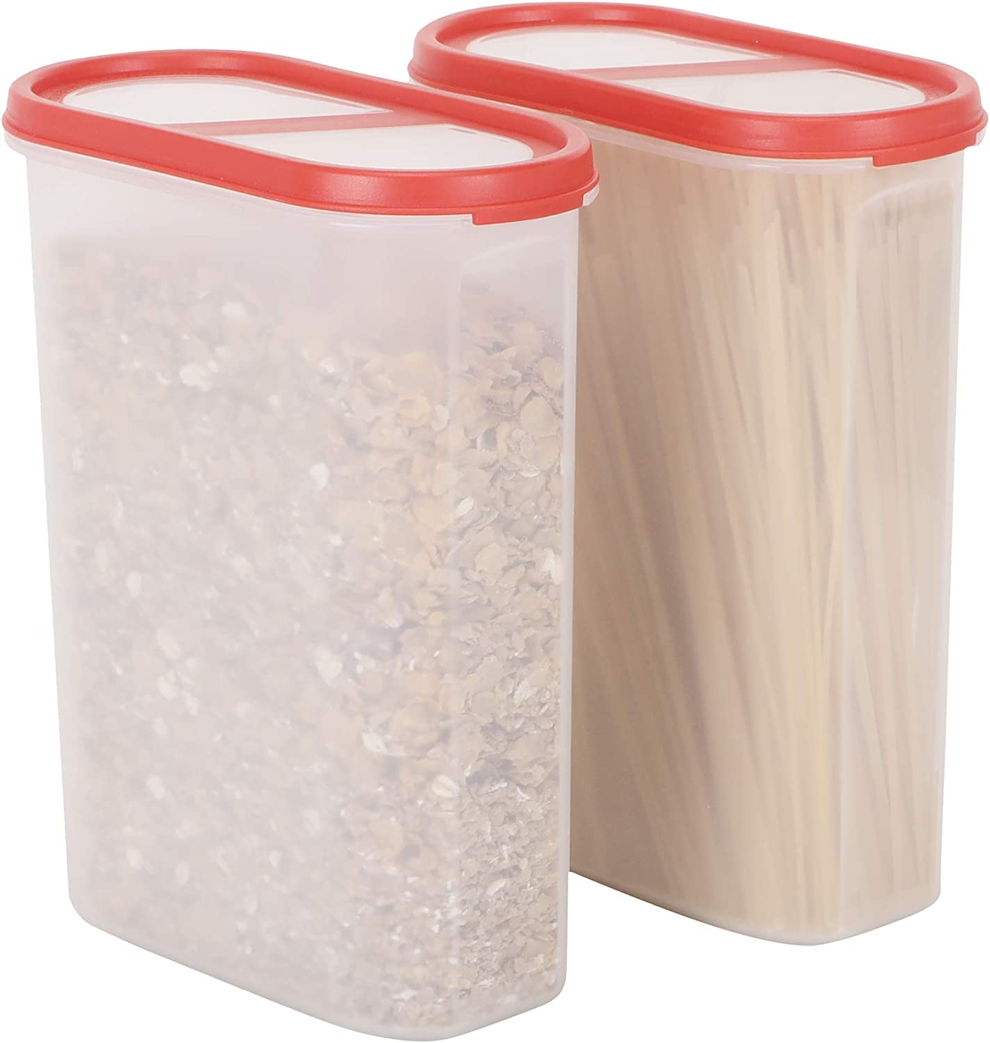 SIMPARTE Cereal Container | Pantry Airtight Food Storage Containers |10 Cup|2 Container Set|Microwave & Dishwasher Safe|BPA Free||Freezer Safe | Space Saver Modular Design Red Lids