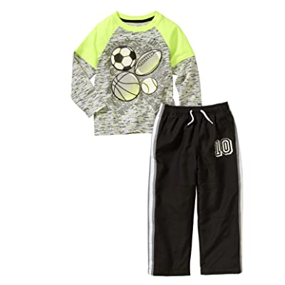 Healthtex Baby Toddler Boy Graphic T-Shirt and Pant Athleisure 2PC Set, Size 3T(Sport Balls)