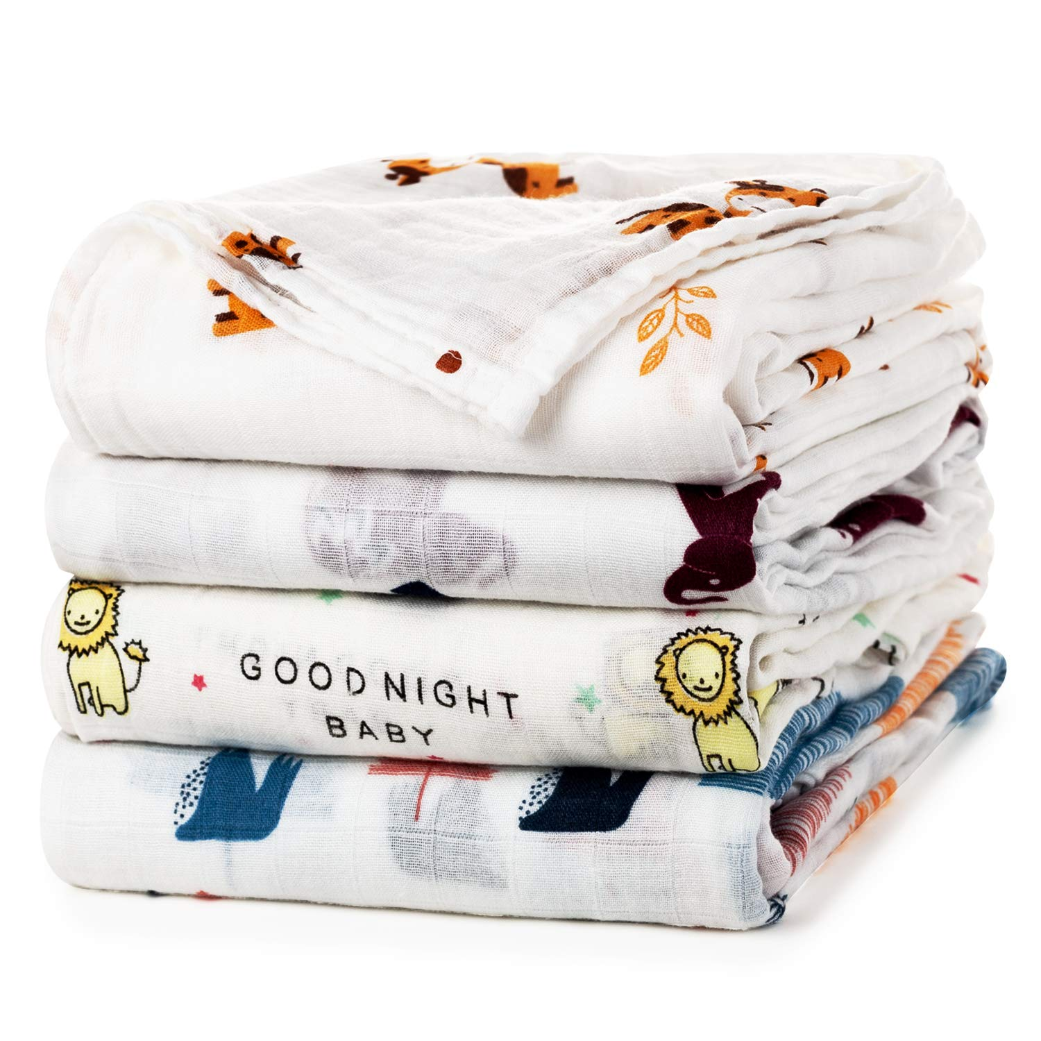 Baby Swaddle Blanket Upsimples Unisex Swaddle Wrap Soft Silky Bamboo Muslin Swaddle Blankets Neutral Receiving Blanket for Boys and Girls, Large 47 x 47 inches, Set of 4-Sika Deer/Elephant/Lion/Fox by upsimples