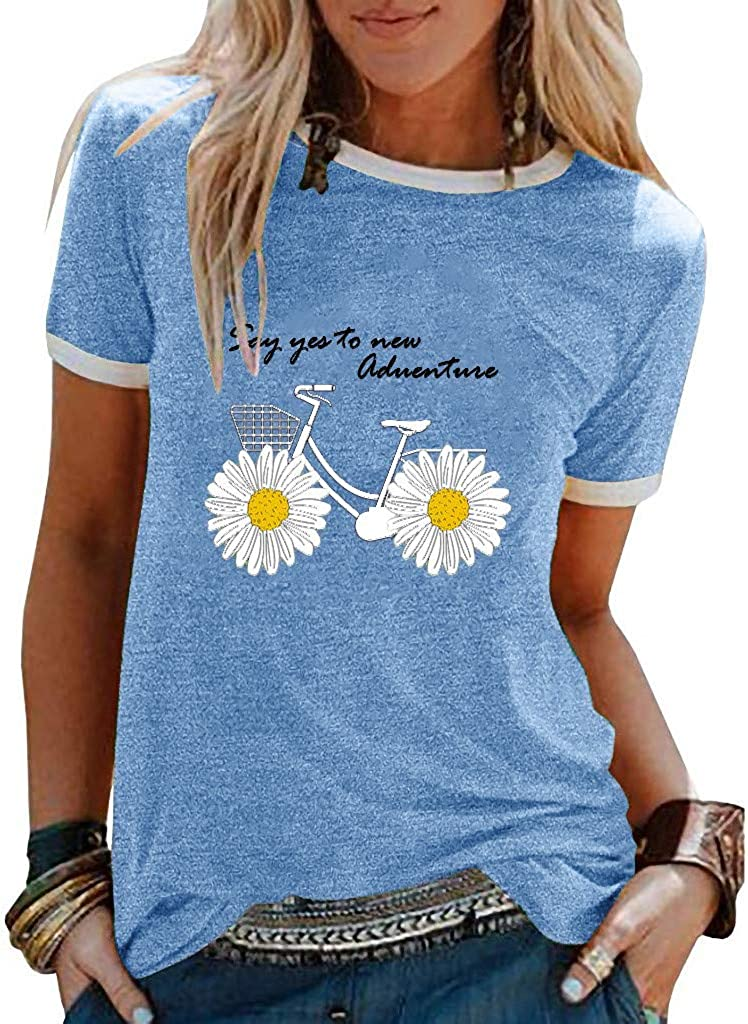 Leaf2you Short Sleeve Blouse for Women Summer T Shirt Cartoon Cat Daisy Printed Tops Crewneck Shirts Beach Casual Loose Tee