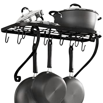 vdomus square grid wall mount pot rack bookshelf rack with 10 hooks kitchen cookware