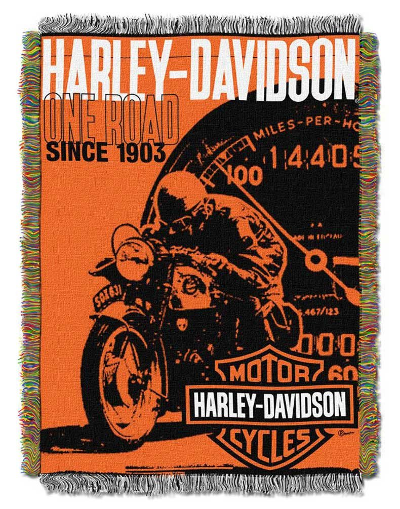 Harley-Davidson Old Times Woven Tapestry Throw Blanket