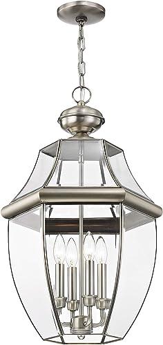 Livex Lighting 2357-91 Monterey 4-Light Outdoor Hanging Lantern, Brushed Nickel