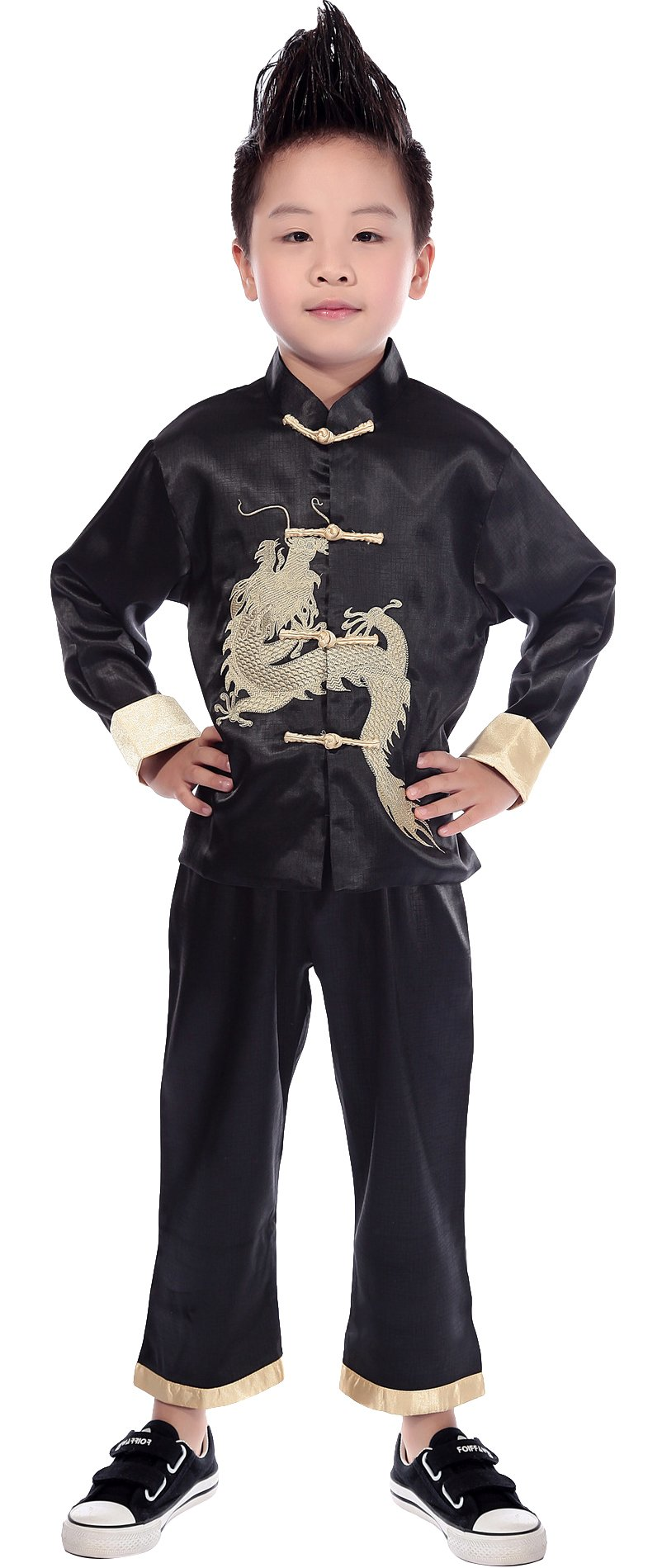 AvaCostume Traditional Chinese Boy Dragon Kung Fu Outfit Tang Costume, Black, 16