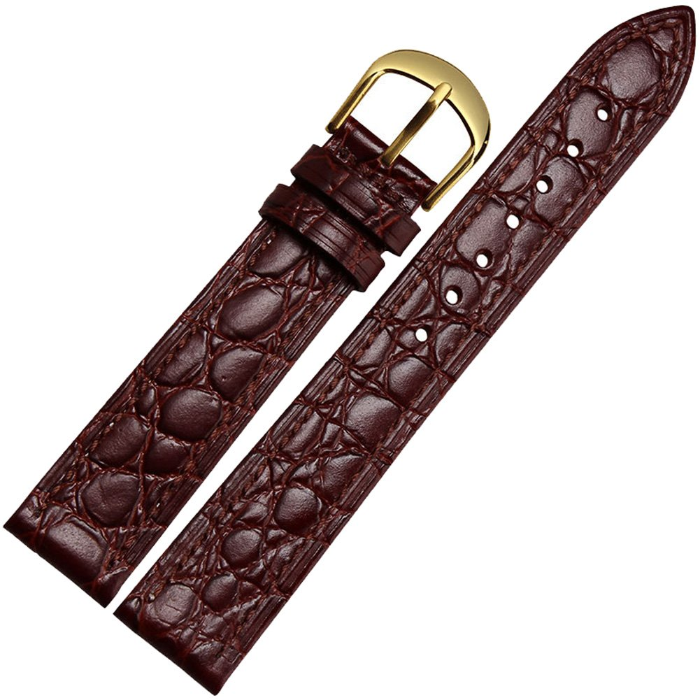 Guanqin 12mm/16mm/18mm/20mm Quick Release Top Grain Leather Watch Band Strap For Men and Women (12mm, brown)