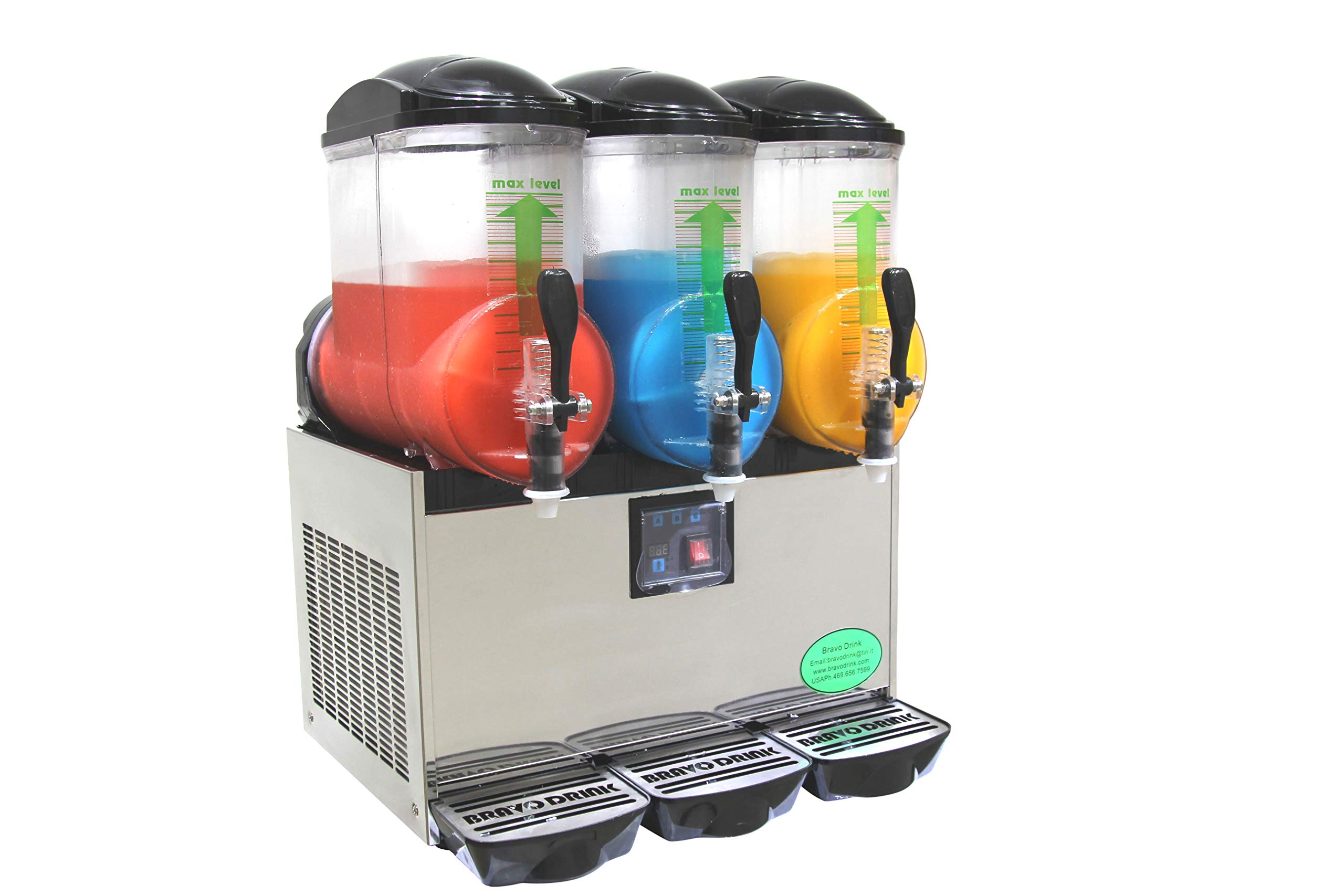 BRAVO ITALIA 3 BOWLS Slushie Machine, 3.2 gallons each bowl, 150 CUPS,COMMERCIAL GRADE.Slushy Machine, Slushy Maker, Margarita Machine by BRAVO ITALIA
