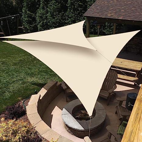 WOWTOY - Toldo triangular con bloqueo UV al 98% lona impermeable con cuerda libre para el aire libre, jardín y terraza, césped, decoración de pergola