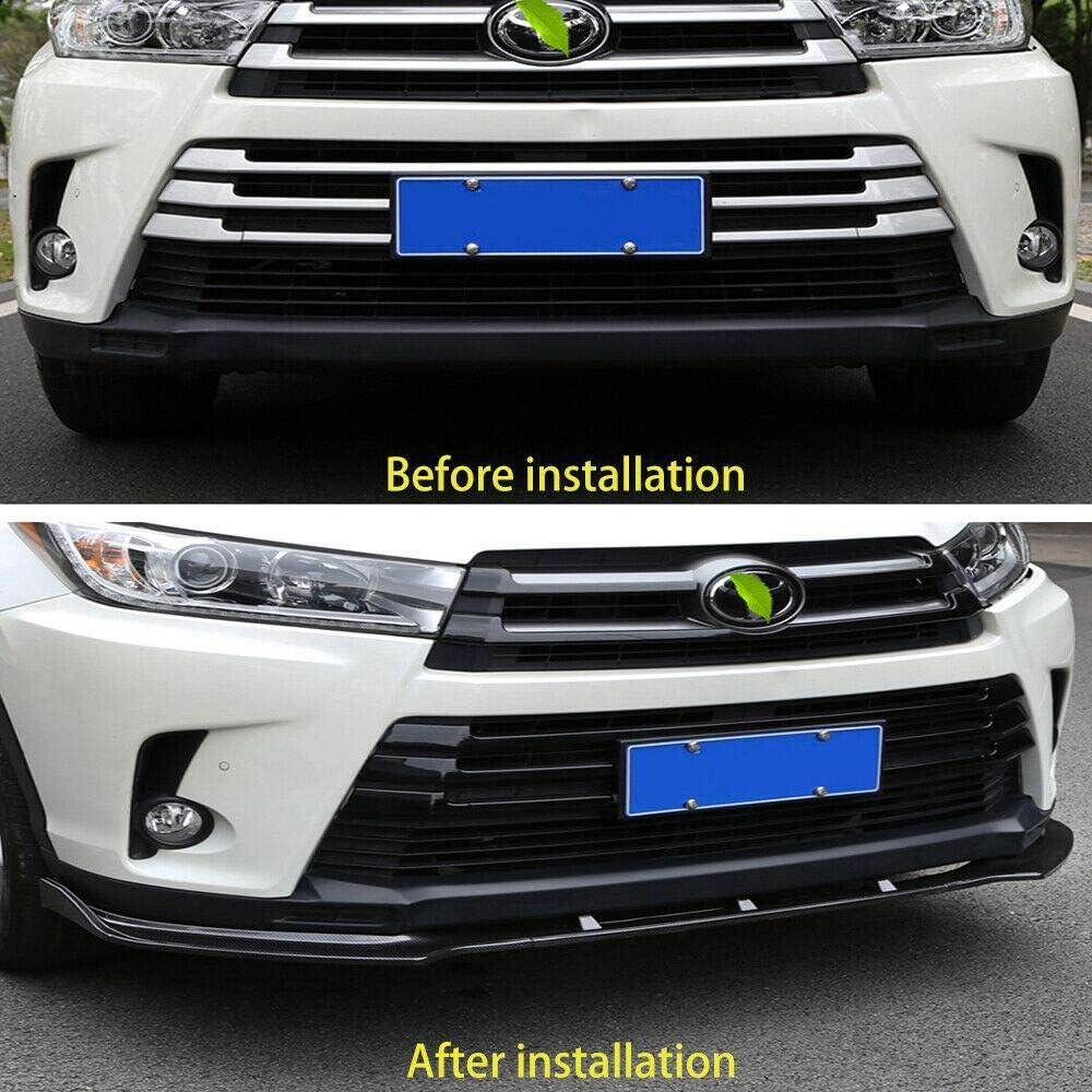 Bright Black Front Bumper 3-Stage Lip Spoiler Fit For Toyota Highlander 2017-2019
