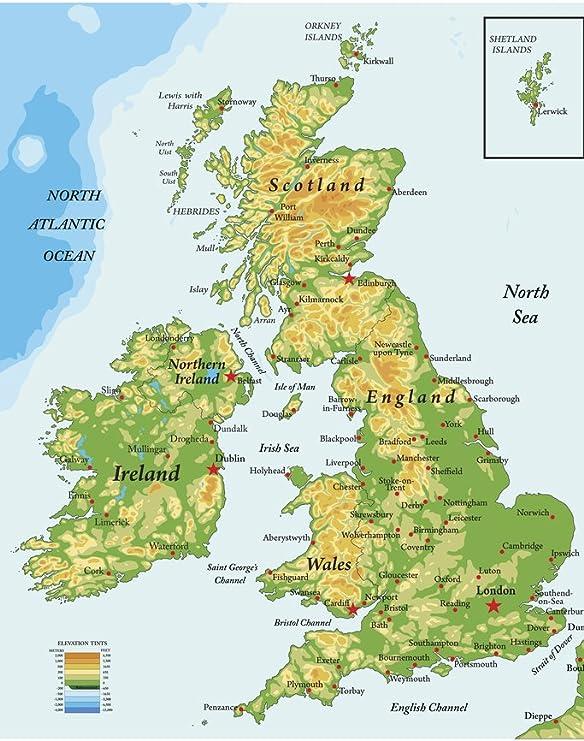 Map Of Ireland United Kingdom.Amazon Com United Kingdom Ireland Scotland Topographical City