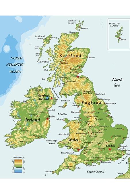 Amazon Com United Kingdom Ireland Scotland Topographical