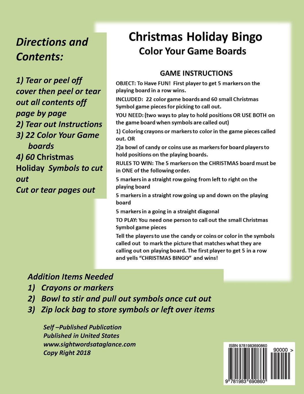 Amazon.com: Christmas Holiday Bingo: Color Your Game Boards (Volume ...