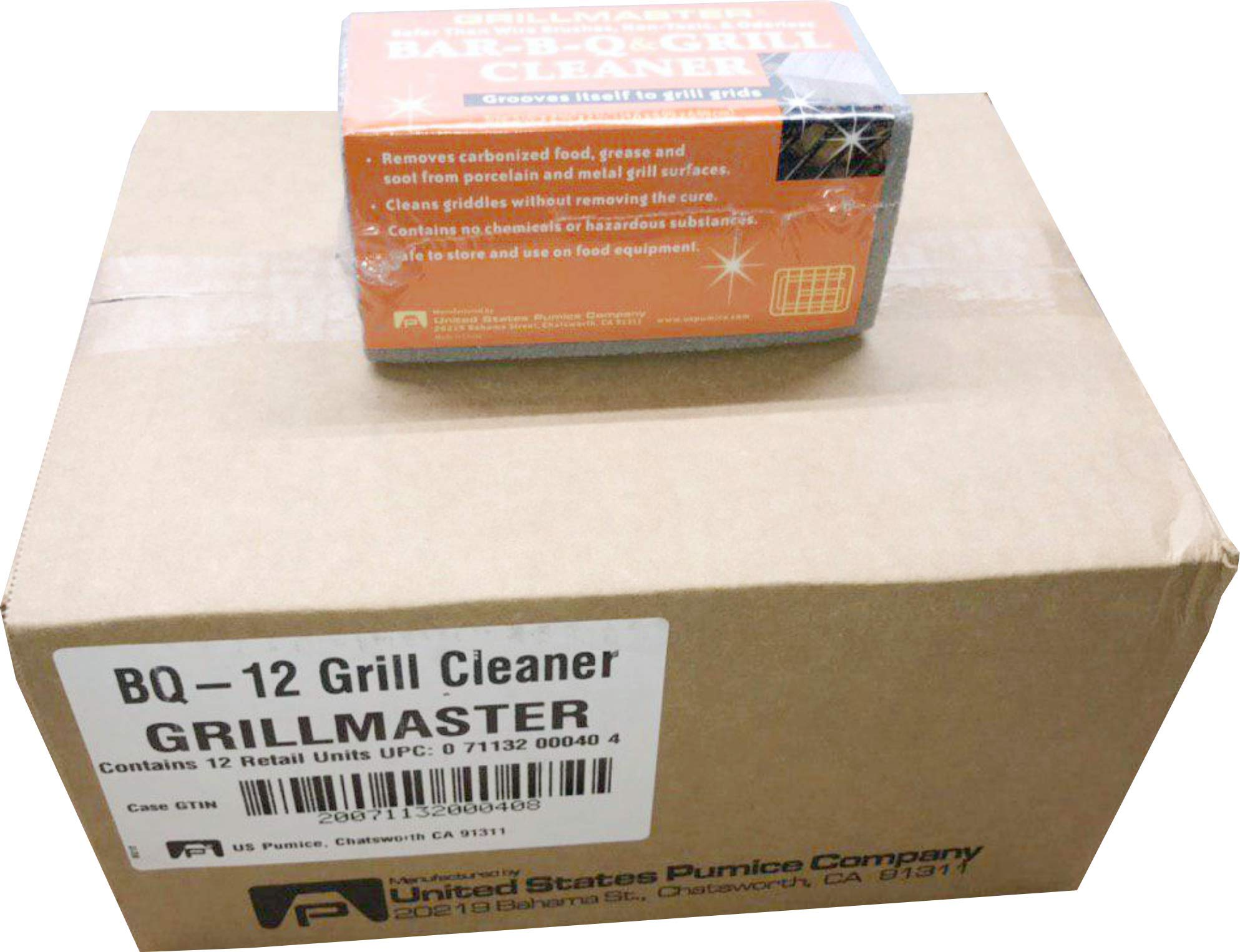 Grillmaster | BQ-12 | BBQ Cleaner Pumice Stone | Case of 12 | GrillBrick for Grill Cleaning | Medium Size | 5.75x2.75x2.75 inches (12) by GRILLMASTER (Image #1)