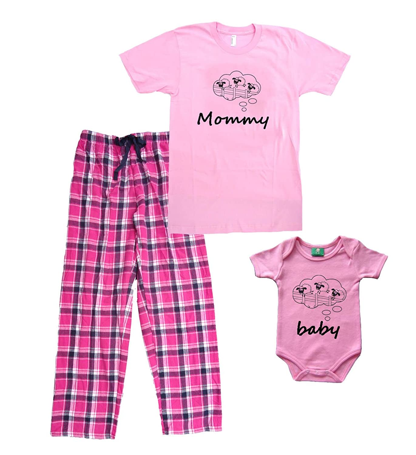 Amazon Counting Sheep Pink Mommy Pajamas with Matching Baby