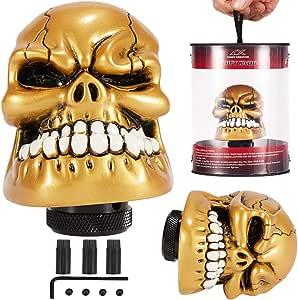 Semoss Pomo Calavera Palanca de Cambios Cráneo Caja de Cambios Automatico o Manual 8mm 10mm 12mm para Coches,Oro: Amazon.es: Coche y moto