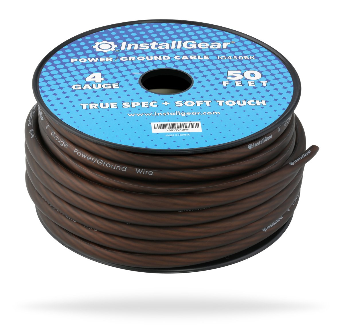 Amazon.com: InstallGear 4 Gauge Black 50ft Power/Ground Wire True ...