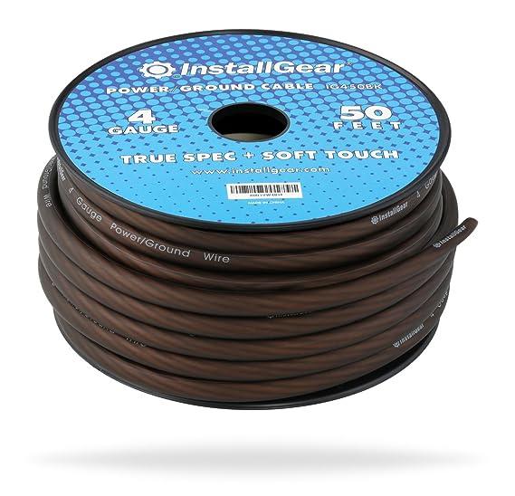 Amazon.com: InstallGear 4 Gauge Black 50ft Power/Ground Wire True ...