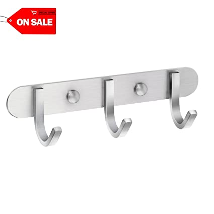 Multi Functional Stainless Steel Wall Mounted Hook Rack Hook Rail Coat Rack 6 Hooks Home Storage Organization Bedroom Bathroom Bathroom Hardware Bathroom Fixtures